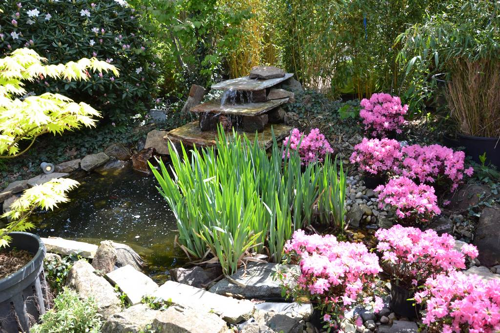 Stufiger Wasserlauf mit Teich im Kiesbett