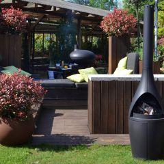 Gartenofen KAMINO ist ein gemütlicher Wärmespender aus Gußeisen für Frühjahr und Herbst.